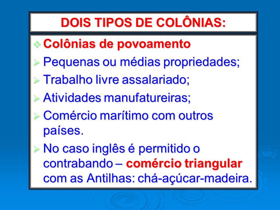 DOIS TIPOS DE COLÔNIAS: