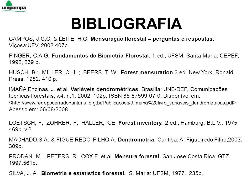 BIBLIOGRAFIA CAMPOS, J.C.C. & LEITE, H.G. Mensuração florestal – perguntas e respostas. Viçosa:UFV, 2002.407p.