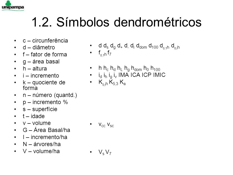 1.2. Símbolos dendrométricos