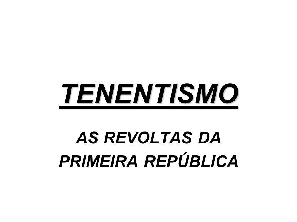 AS REVOLTAS DA PRIMEIRA REPÚBLICA