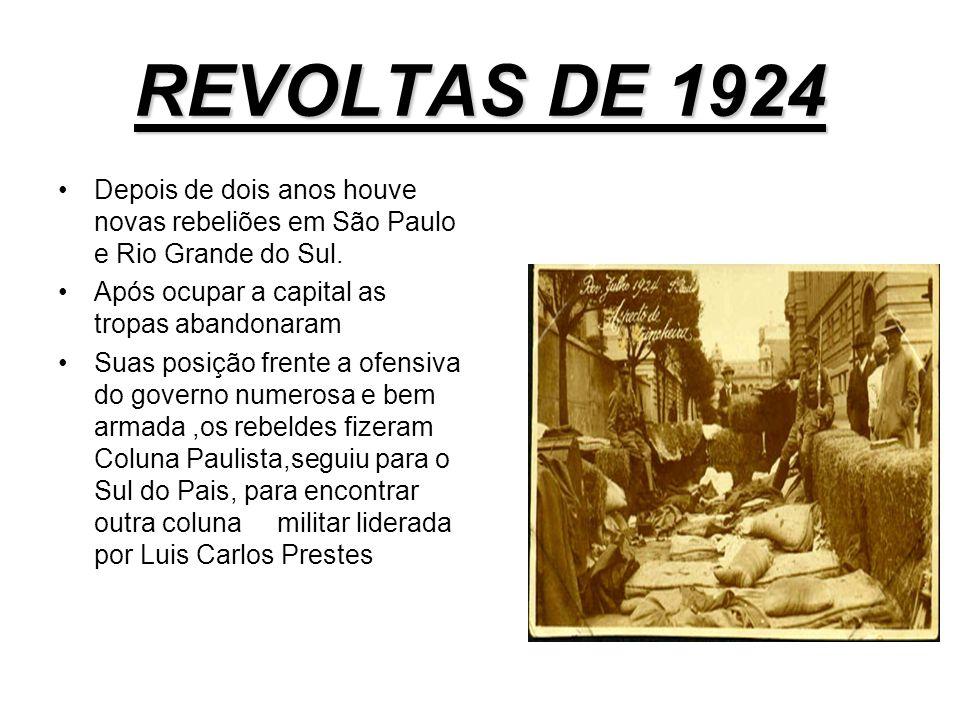 REVOLTAS DE 1924 Depois de dois anos houve novas rebeliões em São Paulo e Rio Grande do Sul. Após ocupar a capital as tropas abandonaram.