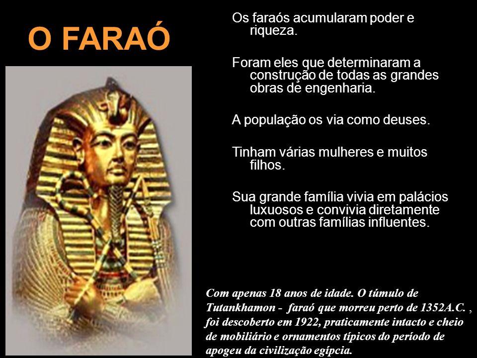 O FARAÓ Os faraós acumularam poder e riqueza.