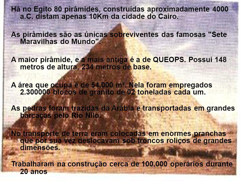 Há no Egito 80 pirâmides, construídas aproximadamente 4000 a. C