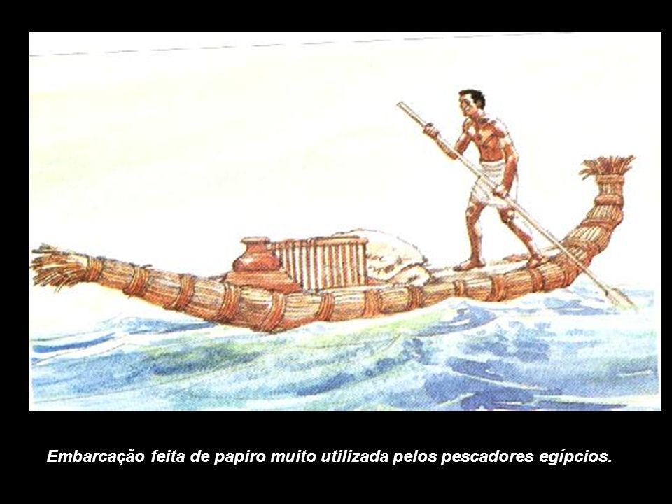 Embarcação feita de papiro muito utilizada pelos pescadores egípcios.
