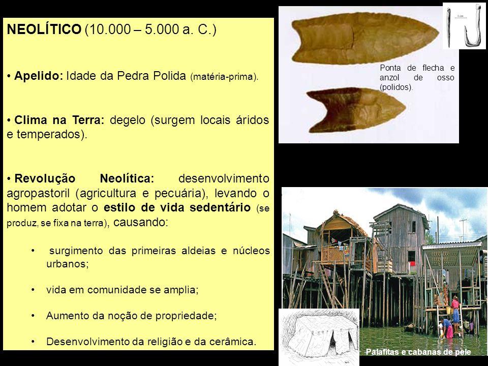 NEOLÍTICO (10.000 – 5.000 a. C.) Apelido: Idade da Pedra Polida (matéria-prima). Clima na Terra: degelo (surgem locais áridos e temperados).