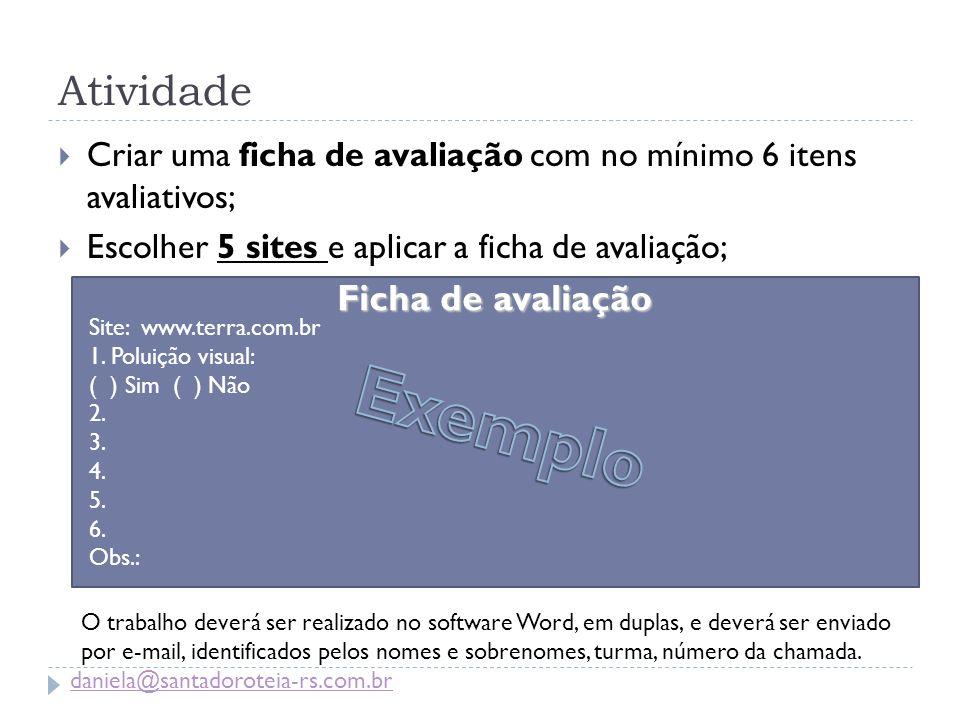 Exemplo Atividade Ficha de avaliação