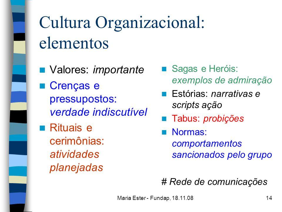 Cultura Organizacional: elementos