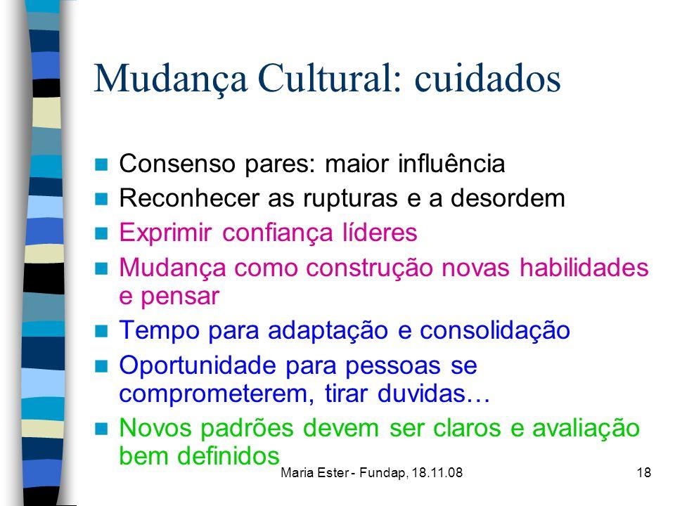 Mudança Cultural: cuidados