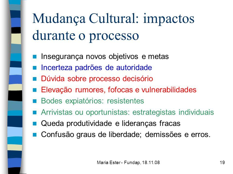Mudança Cultural: impactos durante o processo
