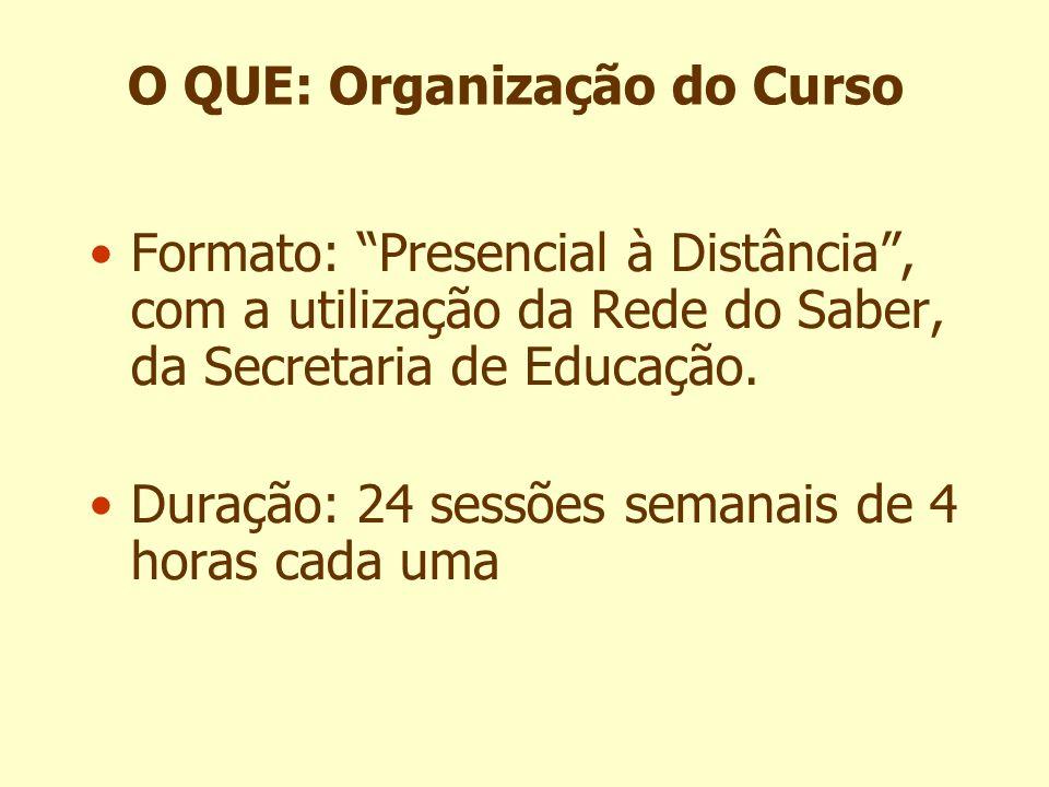 O QUE: Organização do Curso