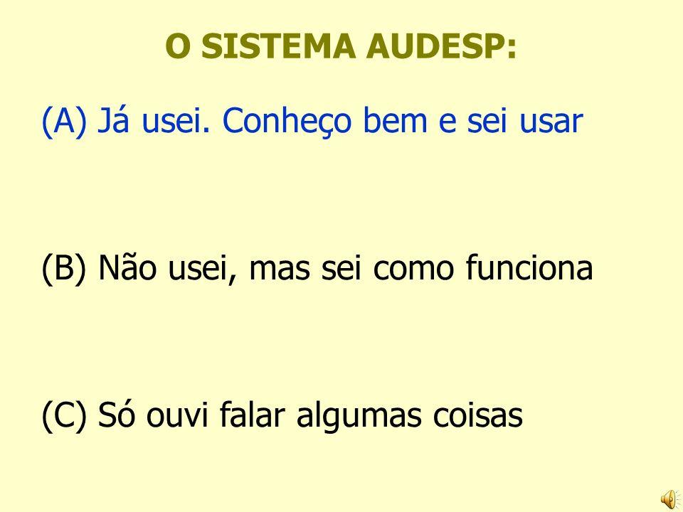 O SISTEMA AUDESP: (A) Já usei. Conheço bem e sei usar.