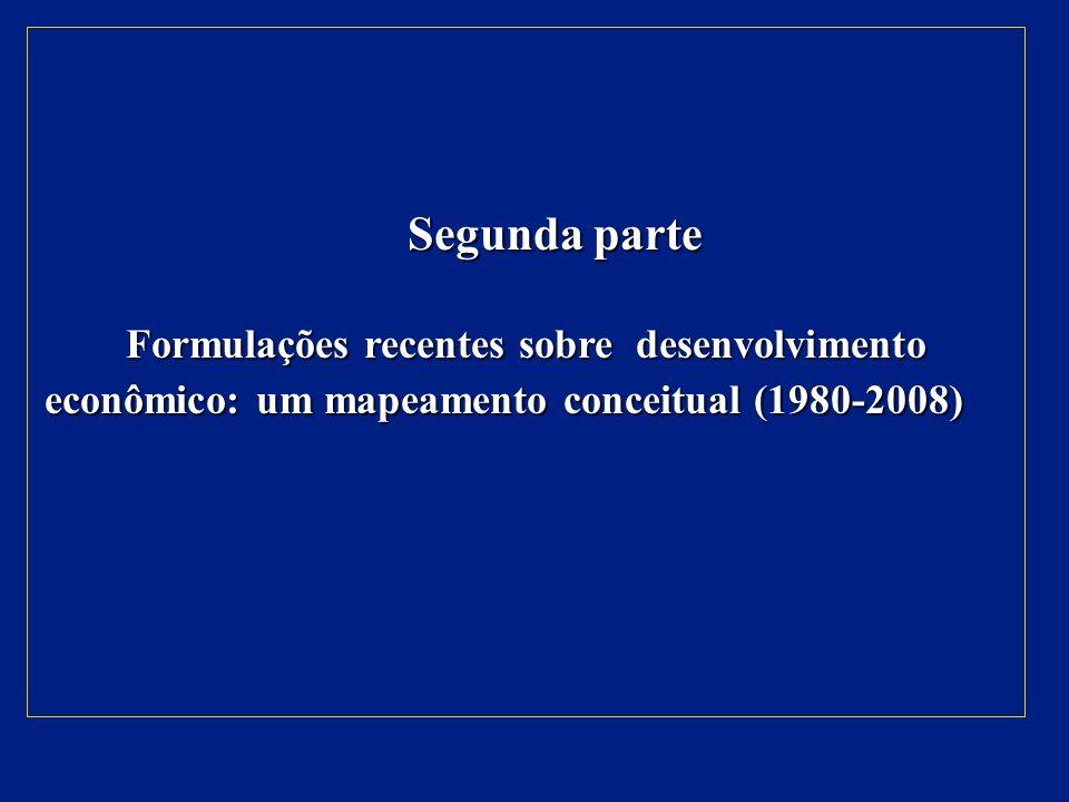 Segunda parte Formulações recentes sobre desenvolvimento econômico: um mapeamento conceitual (1980-2008)