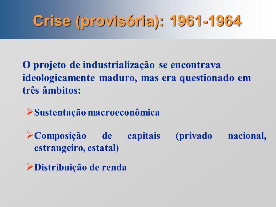 Crise (provisória): 1961-1964 O projeto de industrialização se encontrava ideologicamente maduro, mas era questionado em três âmbitos: