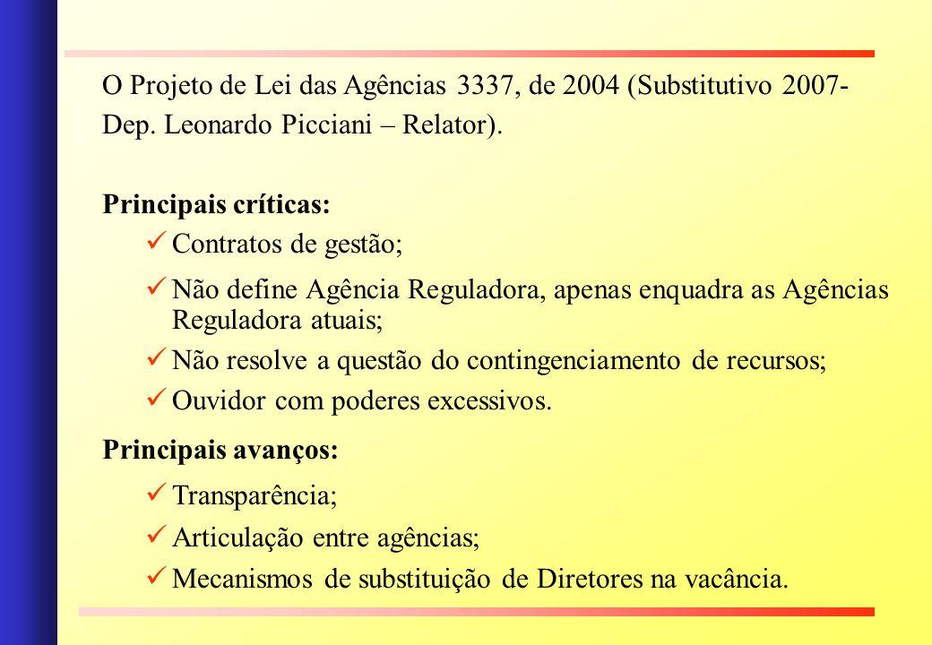 O Projeto de Lei das Agências 3337, de 2004 (Substitutivo 2007-