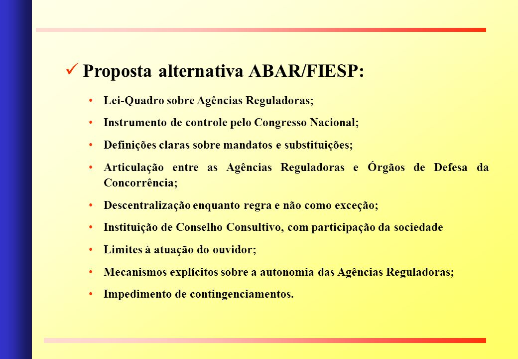 Proposta alternativa ABAR/FIESP: