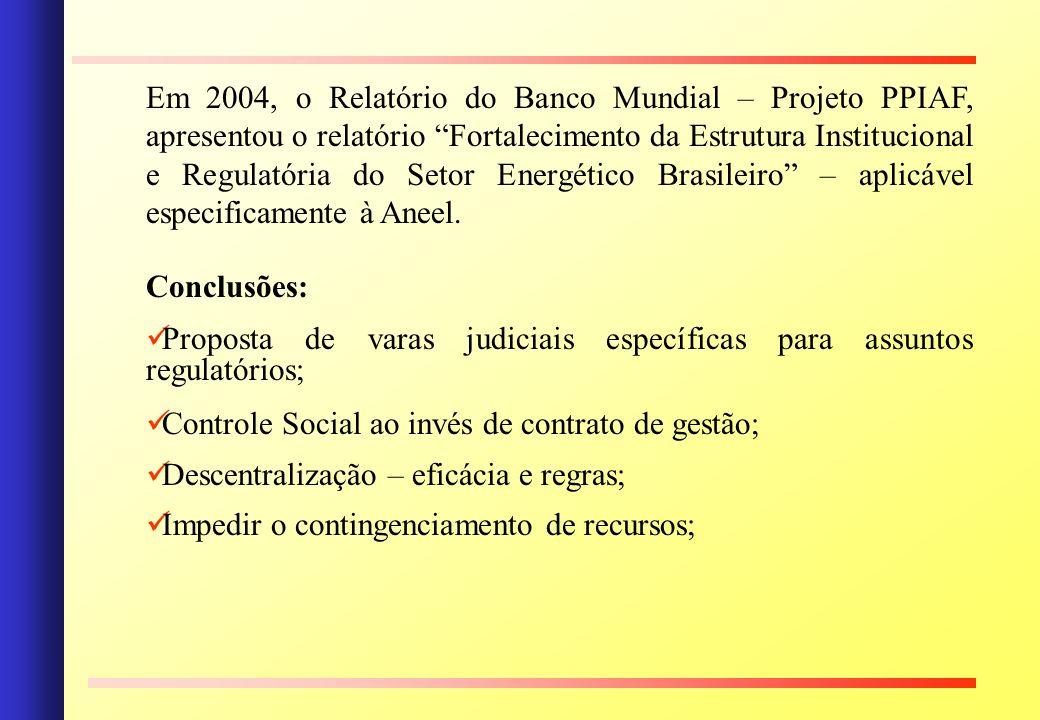 Em 2004, o Relatório do Banco Mundial – Projeto PPIAF, apresentou o relatório Fortalecimento da Estrutura Institucional e Regulatória do Setor Energético Brasileiro – aplicável especificamente à Aneel.