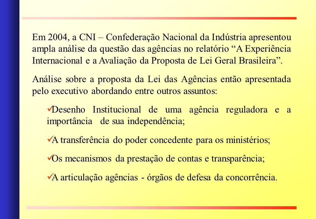 Em 2004, a CNI – Confederação Nacional da Indústria apresentou ampla análise da questão das agências no relatório A Experiência Internacional e a Avaliação da Proposta de Lei Geral Brasileira .
