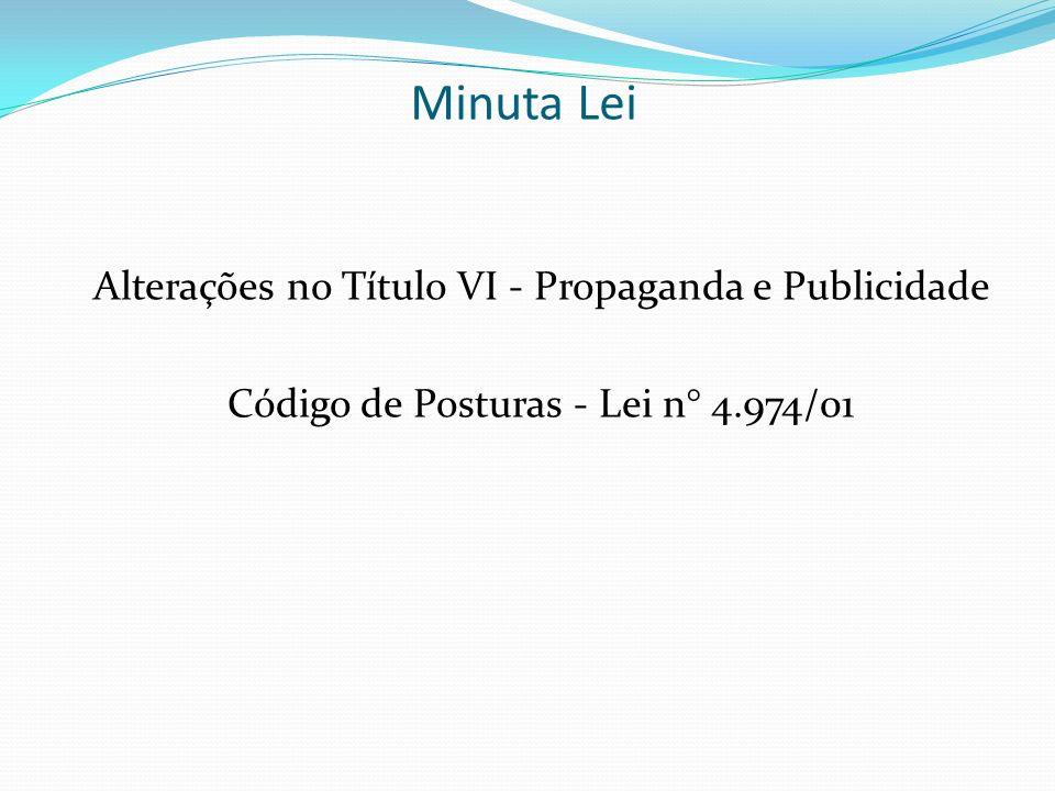 Minuta Lei Alterações no Título VI - Propaganda e Publicidade Código de Posturas - Lei n° 4.974/01