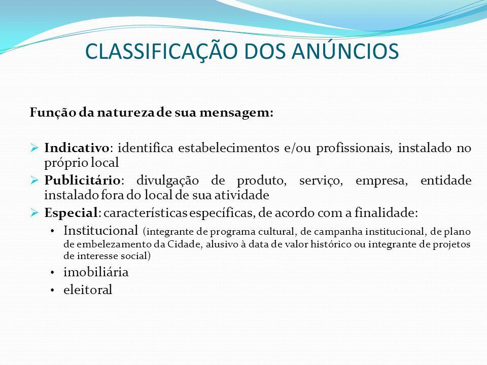 CLASSIFICAÇÃO DOS ANÚNCIOS