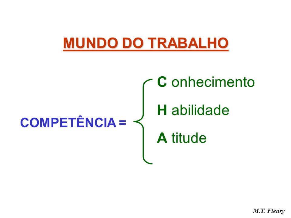 MUNDO DO TRABALHO C onhecimento H abilidade A titude COMPETÊNCIA =