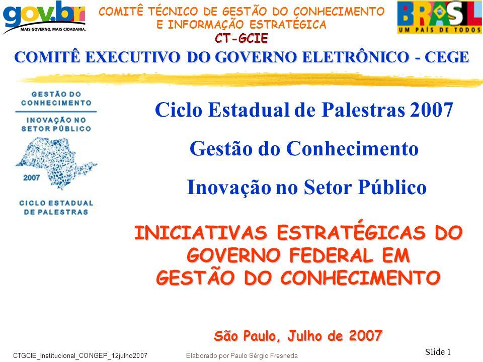 Ciclo Estadual de Palestras 2007 Gestão do Conhecimento