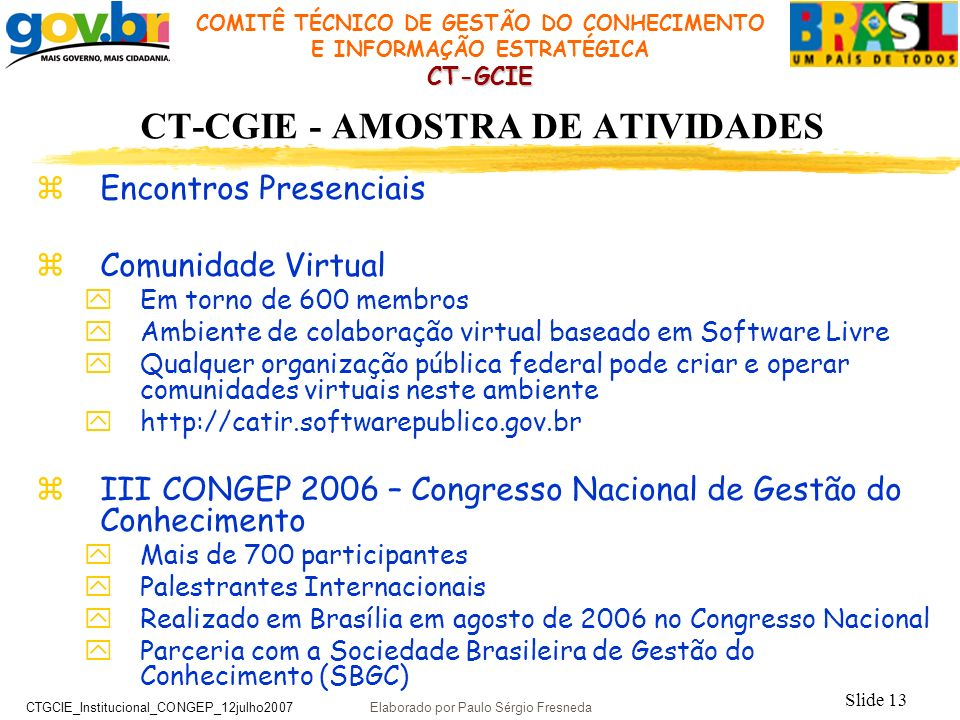CT-CGIE - AMOSTRA DE ATIVIDADES