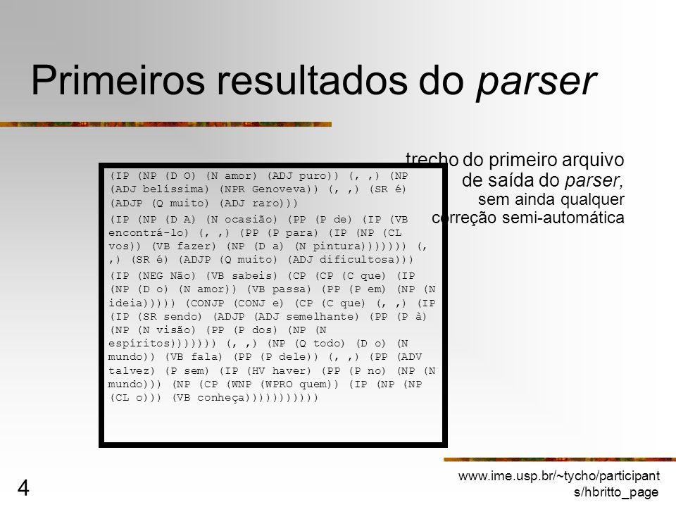 Primeiros resultados do parser