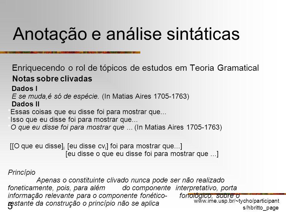 Anotação e análise sintáticas
