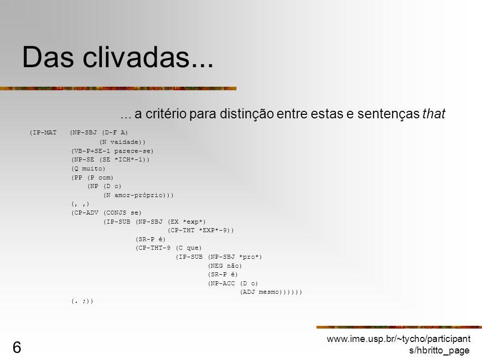 Das clivadas...... a critério para distinção entre estas e sentenças that. (IP-MAT (NP-SBJ (D-F A)