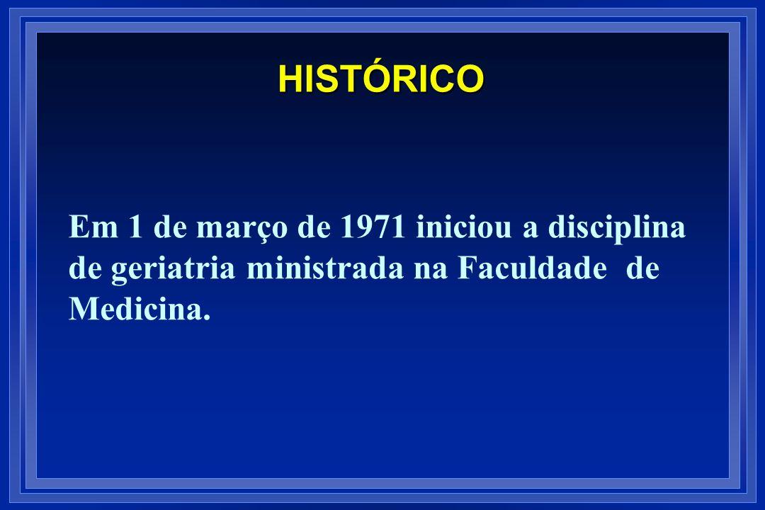 HISTÓRICO Em 1 de março de 1971 iniciou a disciplina