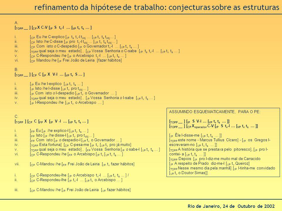 refinamento da hipótese de trabalho: conjecturas sobre as estruturas
