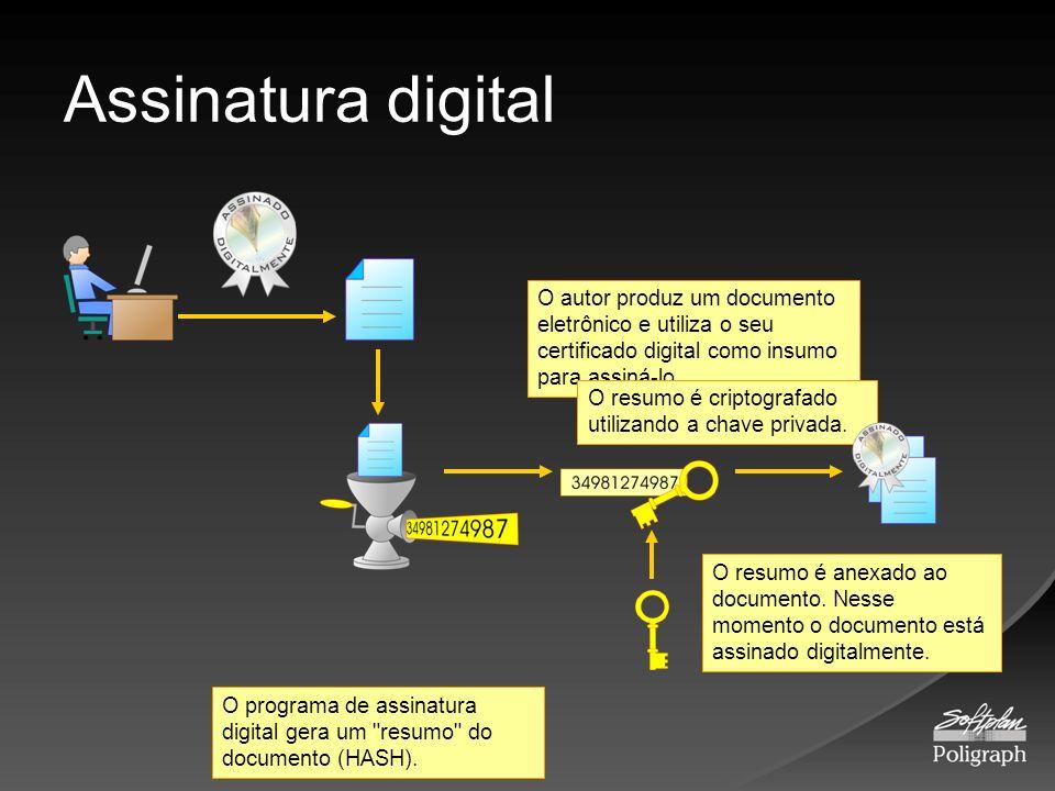 Assinatura digitalO autor produz um documento eletrônico e utiliza o seu certificado digital como insumo para assiná-lo.