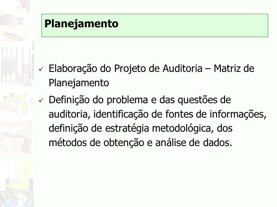 Planejamento Elaboração do Projeto de Auditoria – Matriz de Planejamento.