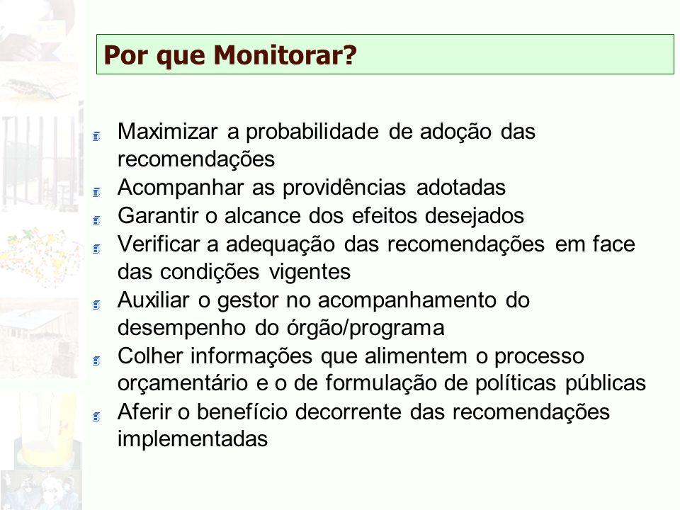 Por que Monitorar Maximizar a probabilidade de adoção das recomendações. Acompanhar as providências adotadas.