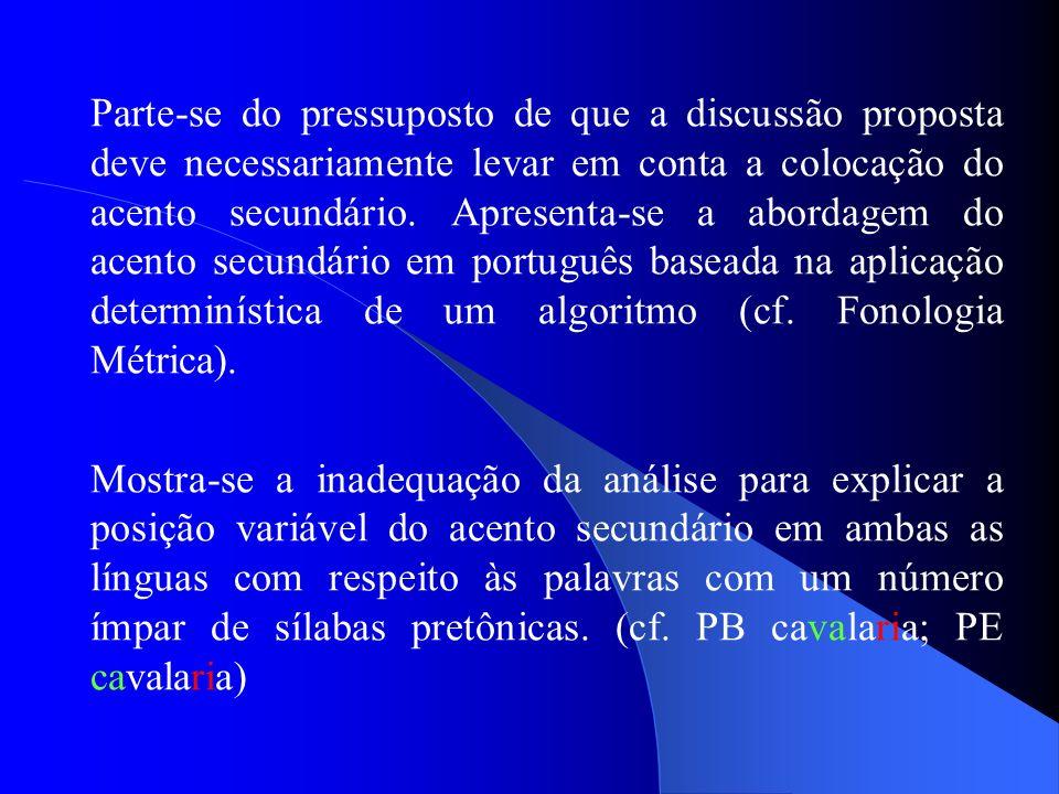 Parte-se do pressuposto de que a discussão proposta deve necessariamente levar em conta a colocação do acento secundário. Apresenta-se a abordagem do acento secundário em português baseada na aplicação determinística de um algoritmo (cf. Fonologia Métrica).