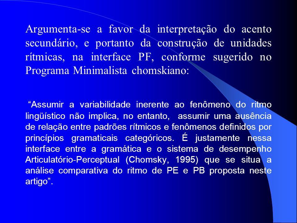 Argumenta-se a favor da interpretação do acento secundário, e portanto da construção de unidades rítmicas, na interface PF, conforme sugerido no Programa Minimalista chomskiano: