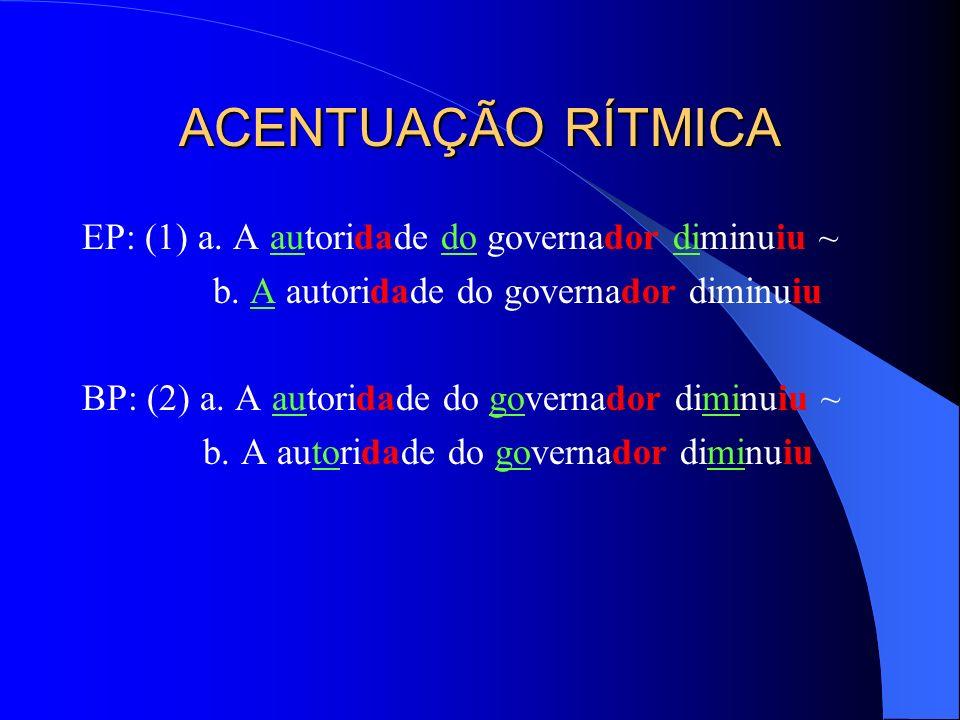 ACENTUAÇÃO RÍTMICA EP: (1) a. A autoridade do governador diminuiu ~