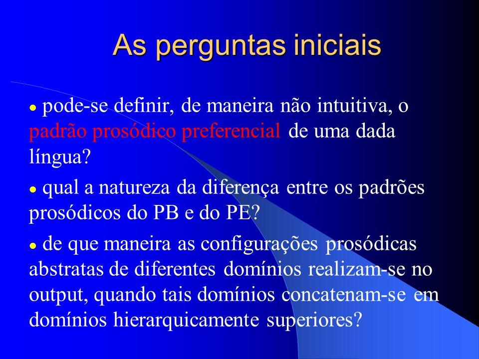 As perguntas iniciais pode-se definir, de maneira não intuitiva, o padrão prosódico preferencial de uma dada língua