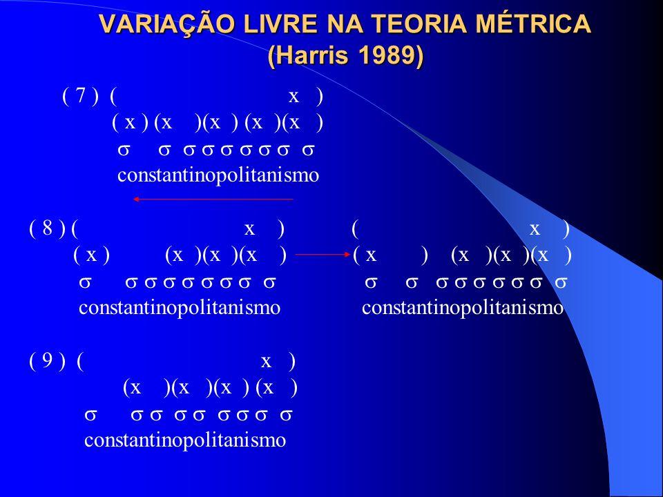 VARIAÇÃO LIVRE NA TEORIA MÉTRICA (Harris 1989)