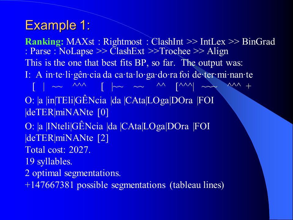 Example 1: Ranking: MAXst : Rightmost : ClashInt >> IntLex >> BinGrad : Parse : NoLapse >> ClashExt >>Trochee >> Align.