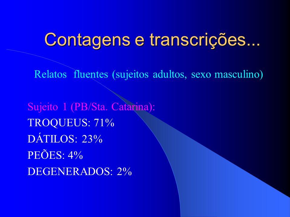 Contagens e transcrições...