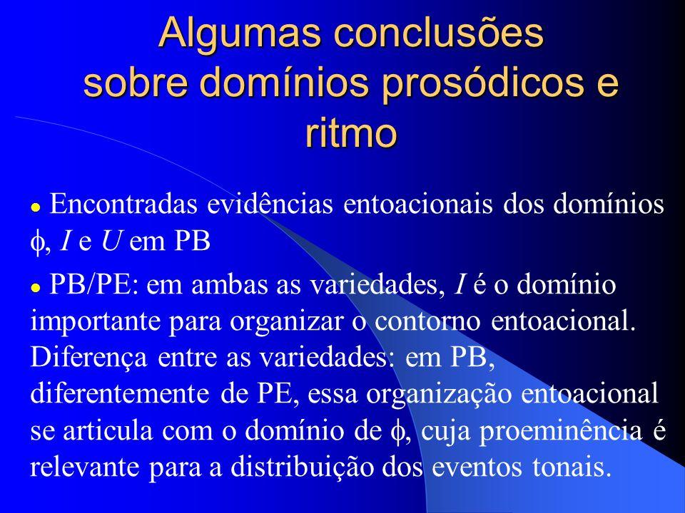 Algumas conclusões sobre domínios prosódicos e ritmo