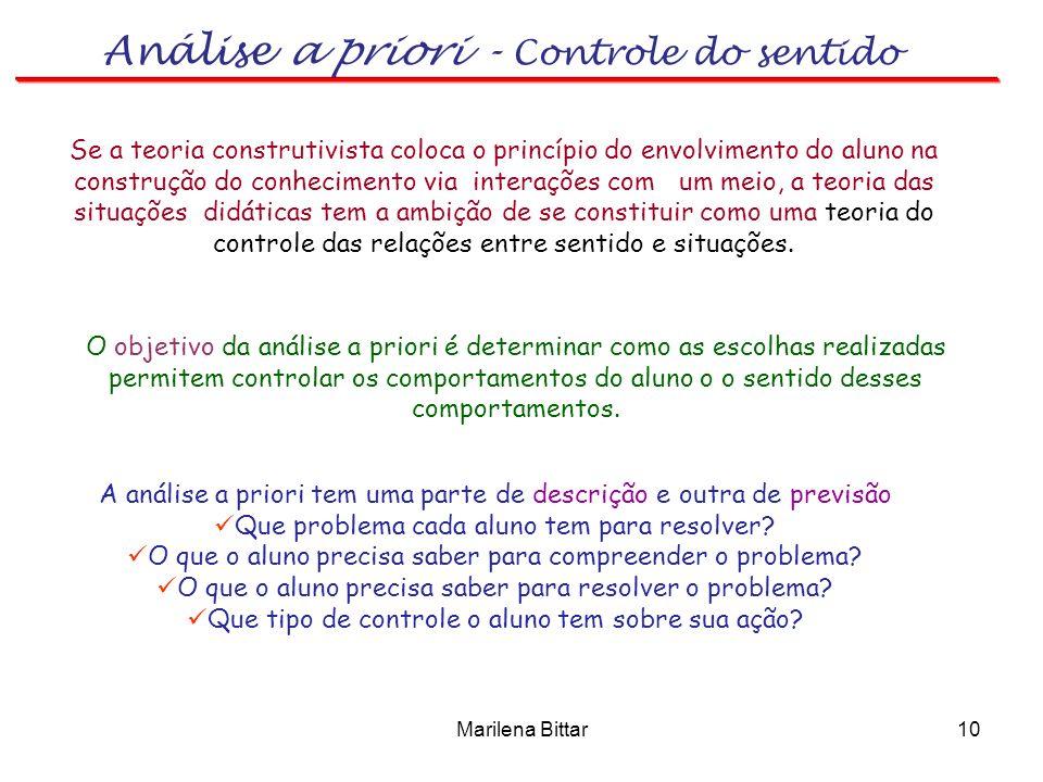 Análise a priori - Controle do sentido