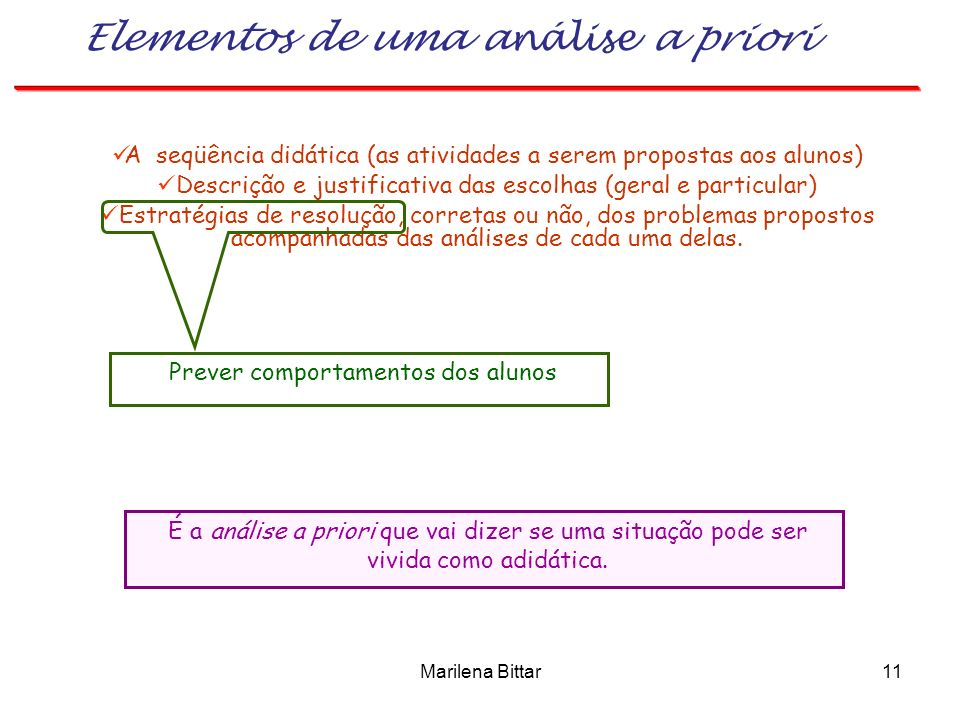 Elementos de uma análise a priori