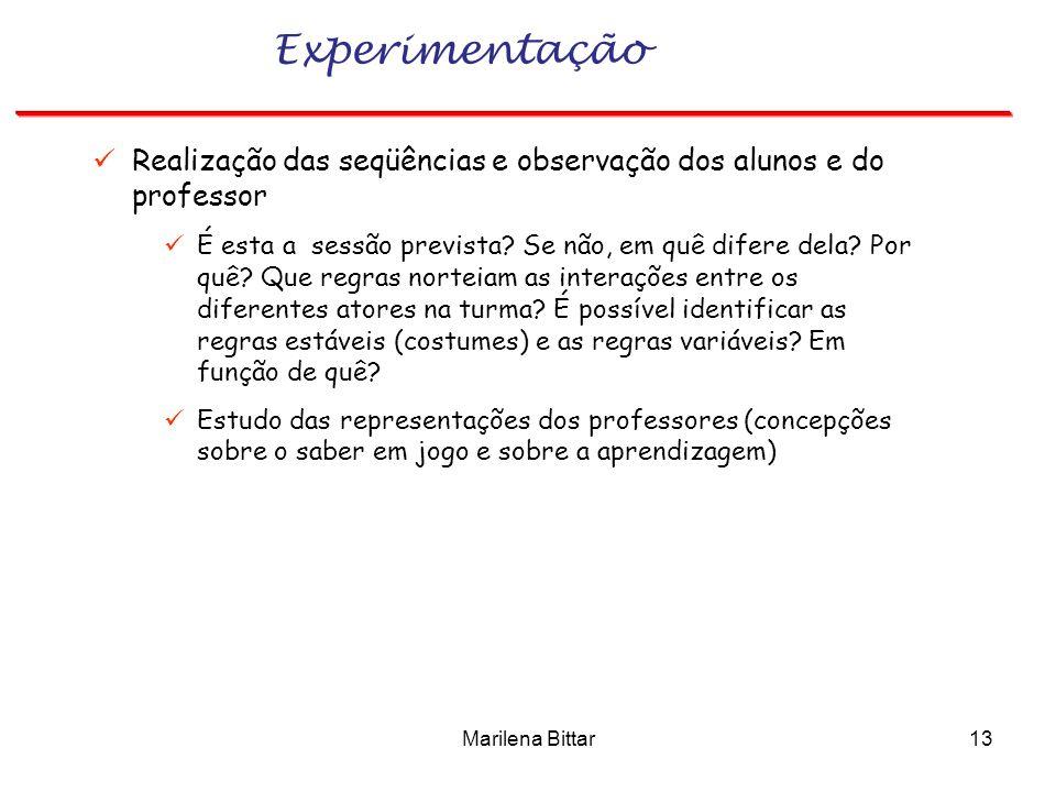 Experimentação Realização das seqüências e observação dos alunos e do professor.