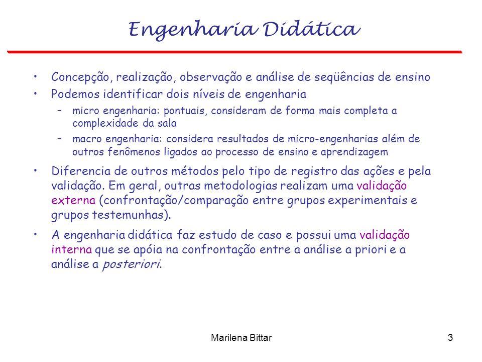 Engenharia Didática Concepção, realização, observação e análise de seqüências de ensino. Podemos identificar dois níveis de engenharia.