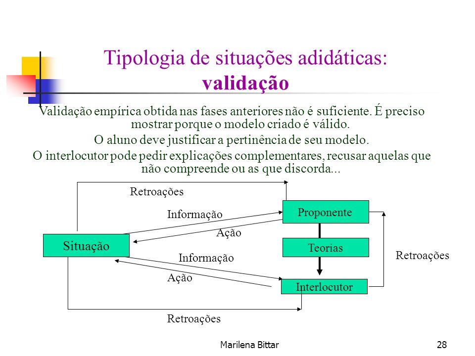 Tipologia de situações adidáticas: validação