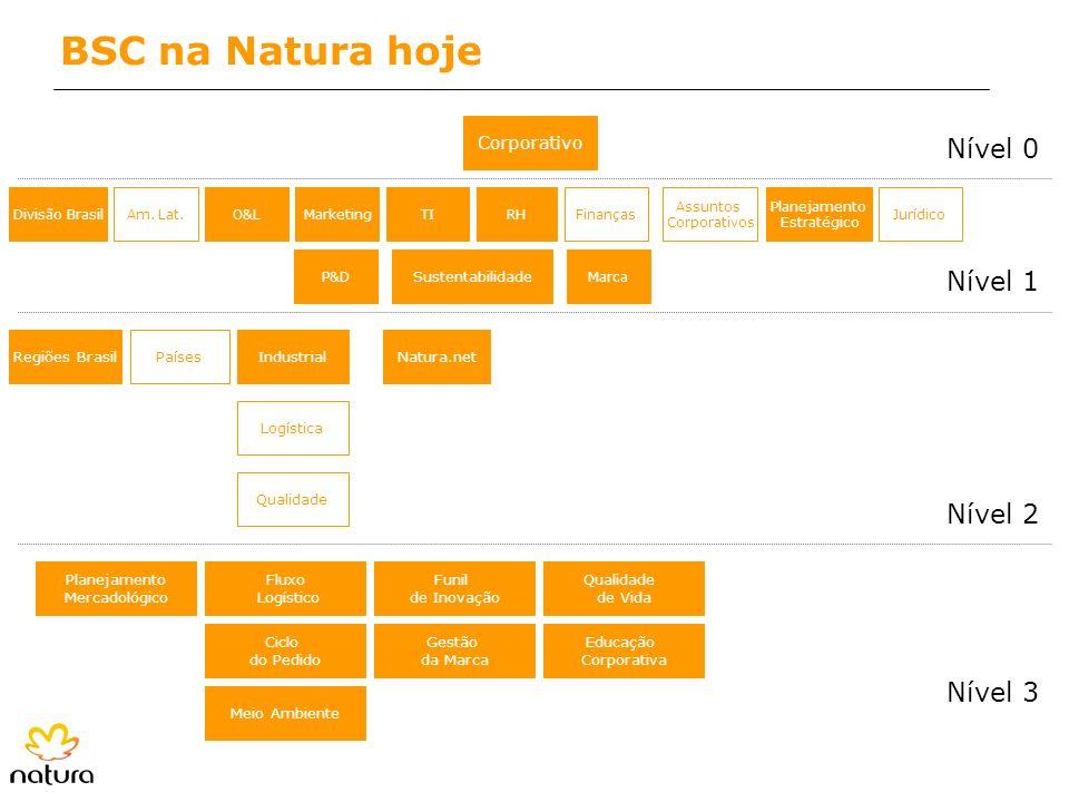BSC na Natura hoje Nível 0 Nível 1 Nível 2 Nível 3 Corporativo