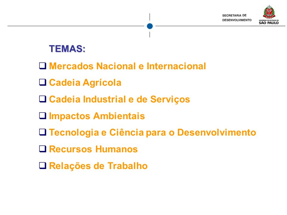 TEMAS: Mercados Nacional e Internacional. Cadeia Agrícola. Cadeia Industrial e de Serviços. Impactos Ambientais.