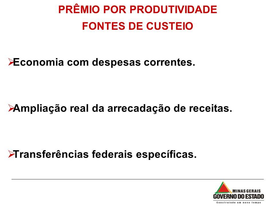 PRÊMIO POR PRODUTIVIDADE FONTES DE CUSTEIO